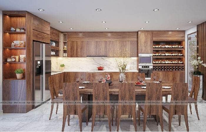 Sản phẩm tủ bếp được Nội Thất Đương Đại thiết kế và thi công bằng gỗ MFC chống ẩm của An cường cho khách hàng - Anh Tráng (Quảng Ninh).