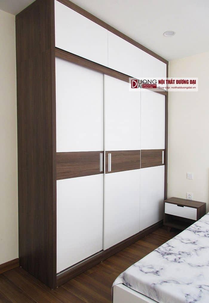 Tủ quần áo cửa lùa 2 khoang gỗ công nghiệp giá rẻ