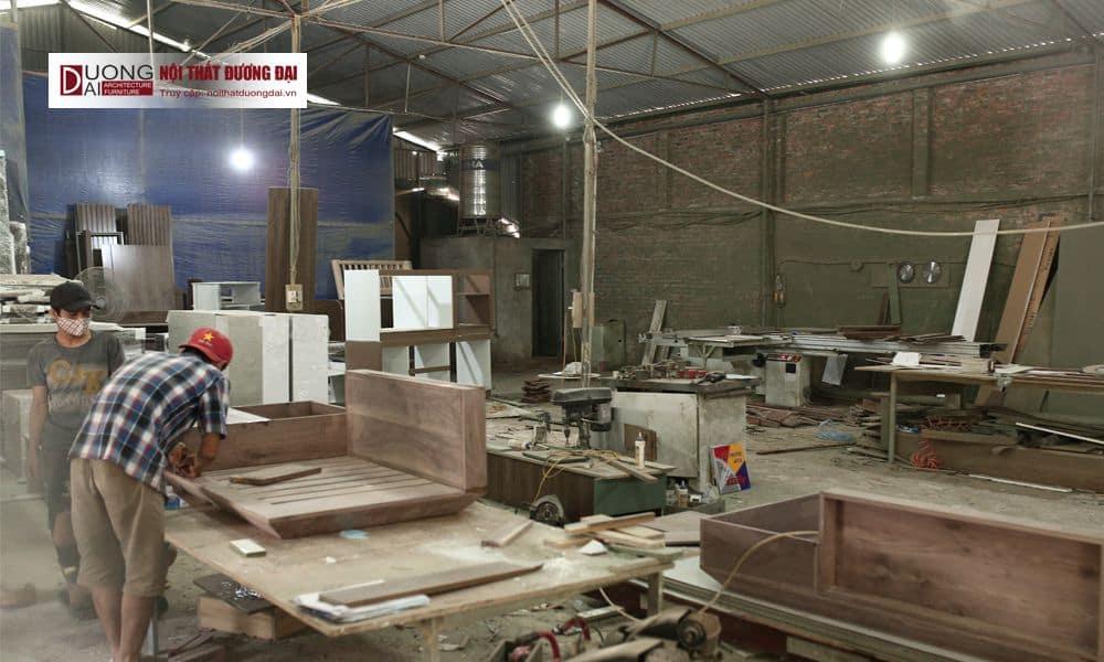 Xưởng sản xuất nội thất quy mô lớn, máy móc hiện đại