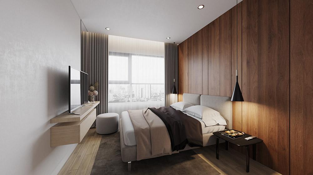 Phòng ngủ chung cư diện tích 12m2 siêu gọn gàng với nội thất treo tường