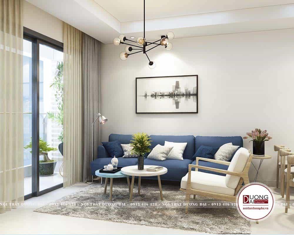 Thiết kế phòng khách siêu đẹp với màu xanh cá tính