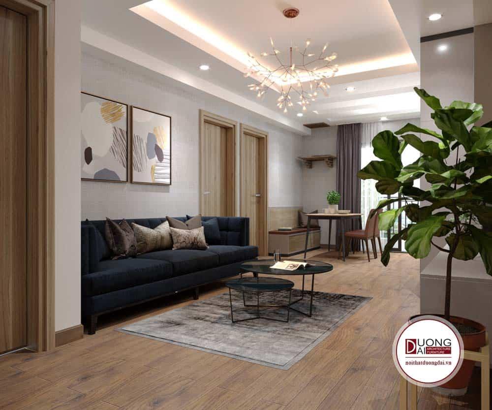 Phòng khách cá tính với sofa màu xanh đen