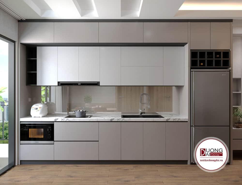 Tủ bếp chữ I màu ghi sáng tiện nghi với chất liệu gỗ MFC