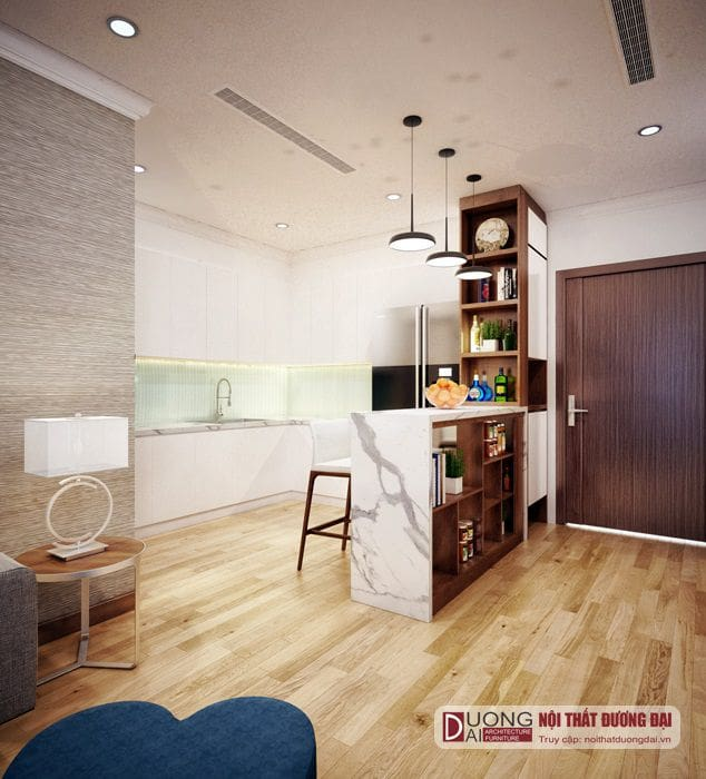 Phòng bếp nhỏ xinh với tủ bếp Acrylic màu trắng