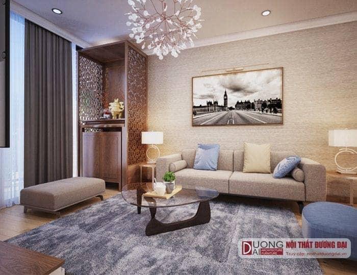 Phòng khách nhà anh Minh có phong cách hiện đại và màu sắc dịu nhẹ
