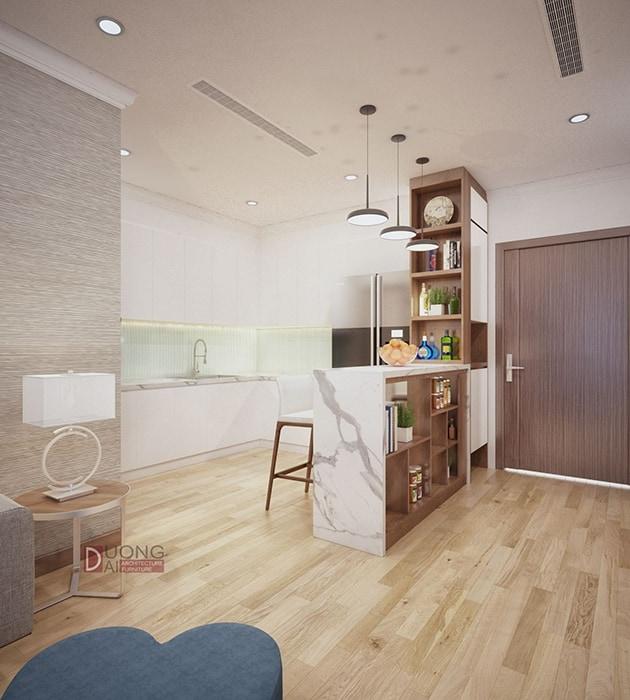 Thiết kế nội thất phòng bếp tiện nghi với tủ bếp trắng