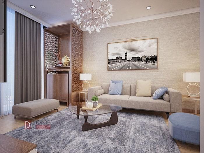 Phòng khách hiện đại với bộ sofa màu vàng nhạt êm ái
