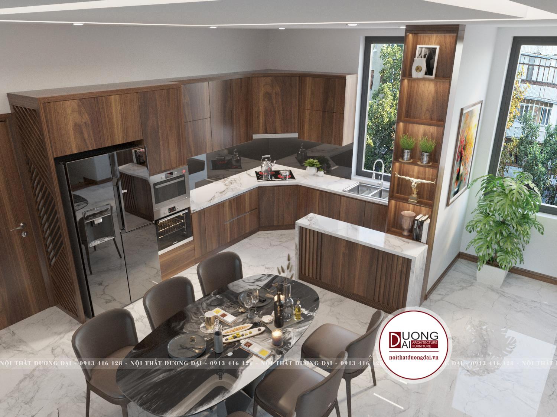 Phòng bếp chuẩn phong thủy với tủ bếp chữ L gọn gàng, thông minh