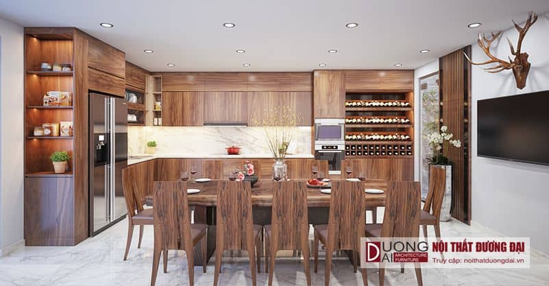 Tủ bếp và bàn ăn gỗ óc chó đầy ấn tượng và xa hoa