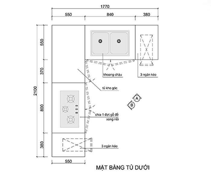 Bản vẽ thiết kế tủ bếp dưới kích thước nhỏ gọn