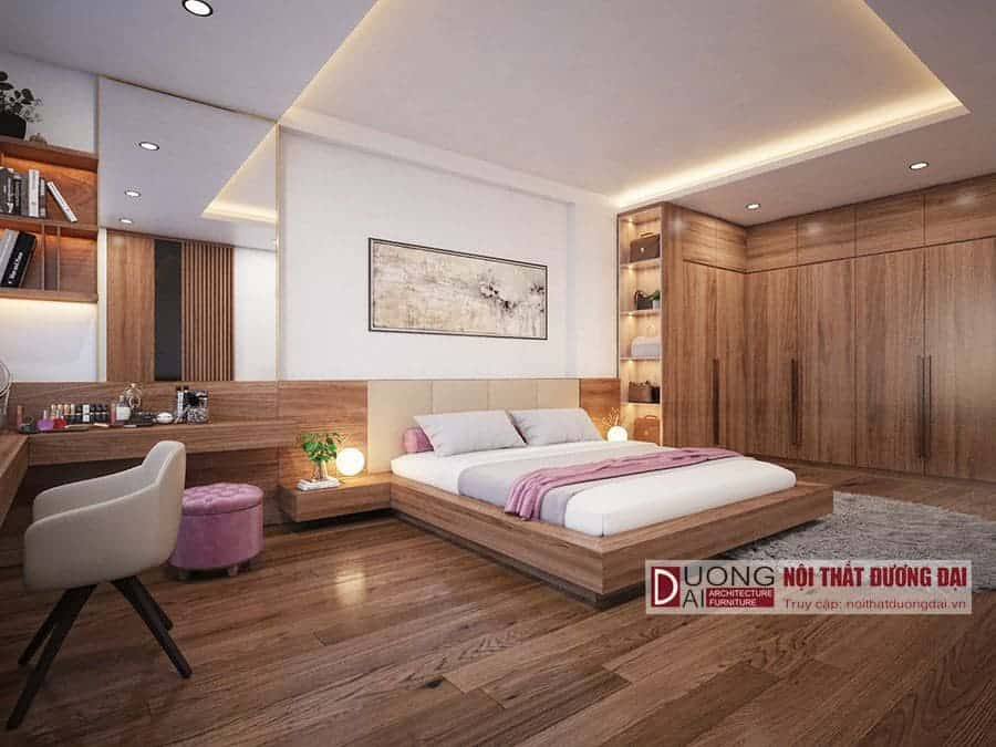 Giường ngủ cho nhà phố được làm bằng gỗ công nghiệp