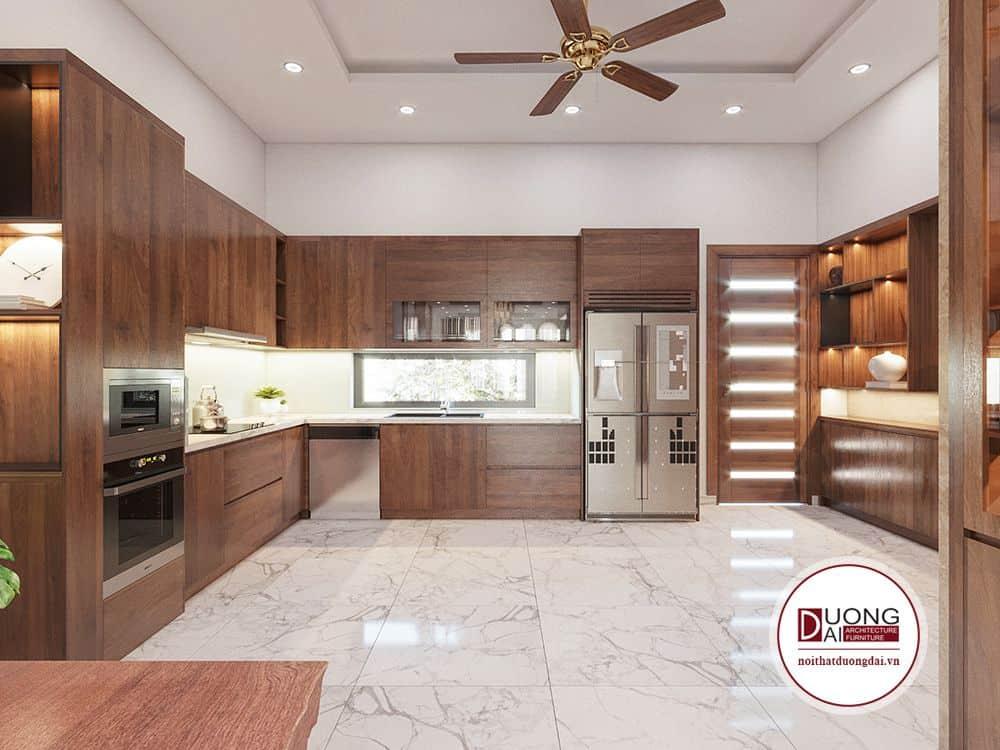 Tủ bếp làm từ chất liệu gỗ tự nhiên quý hiếm siêu bền và ấn tượng