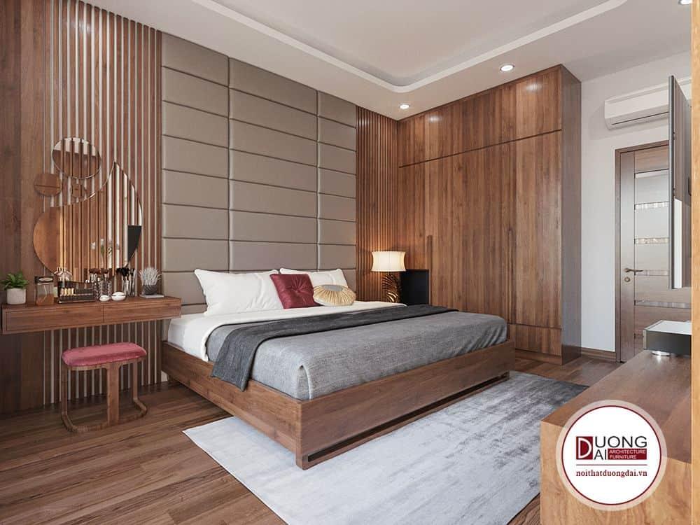 Phòng ngủ Master sử dụng gỗ tự nhiên cao cấp trầm ổn mà tinh tế