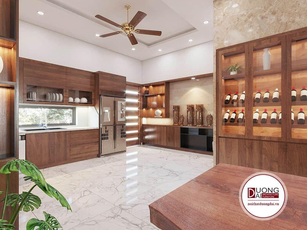 Tủ bếp lớn kết hợp kệ trang trí sang trọng để trưng bày rượu