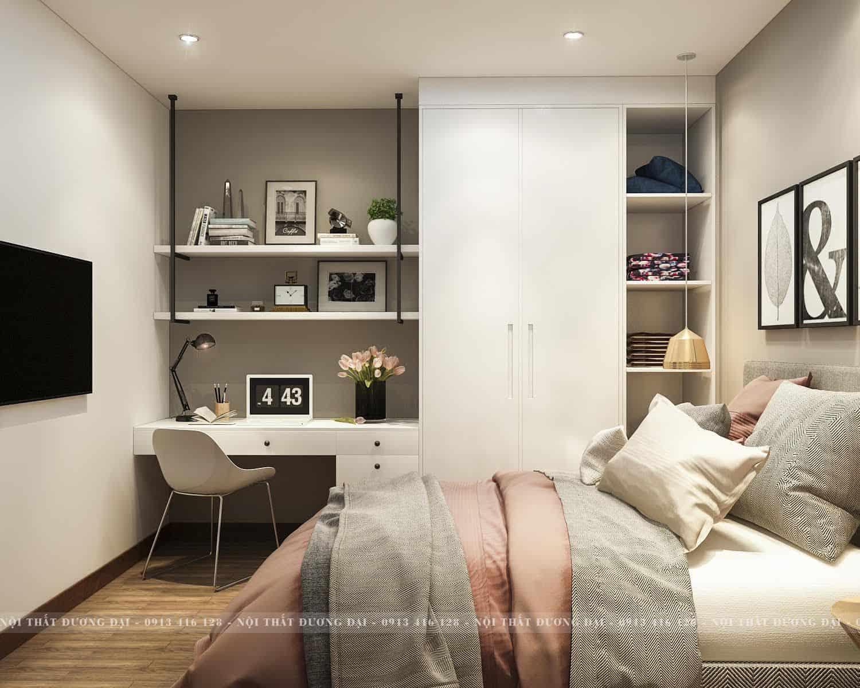 Phòng ngủ cho bé với thiết kế tủ và góc học tập thông minh