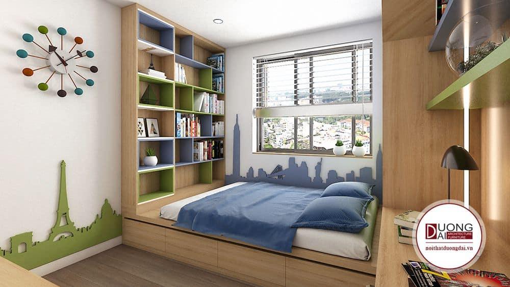Phòng ngủ bé trai với màu xanh dương trẻ trung, cá tính