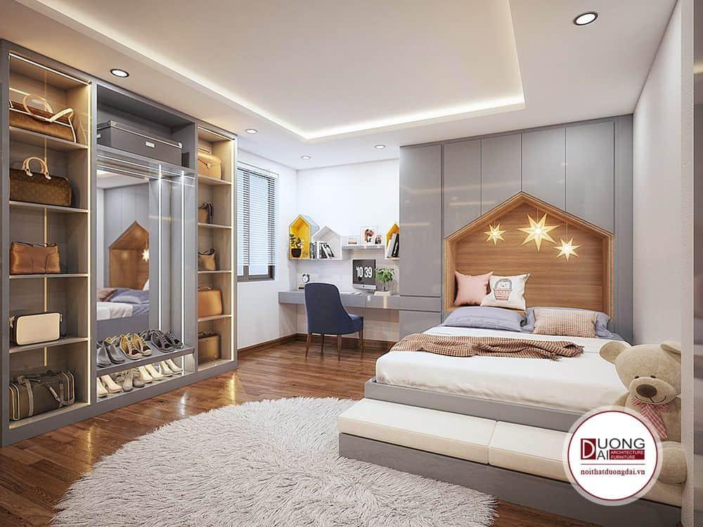 Nội thất phòng ngủ trẻ em hiện đại với phong cách nữ tính và đầy mộng mơ