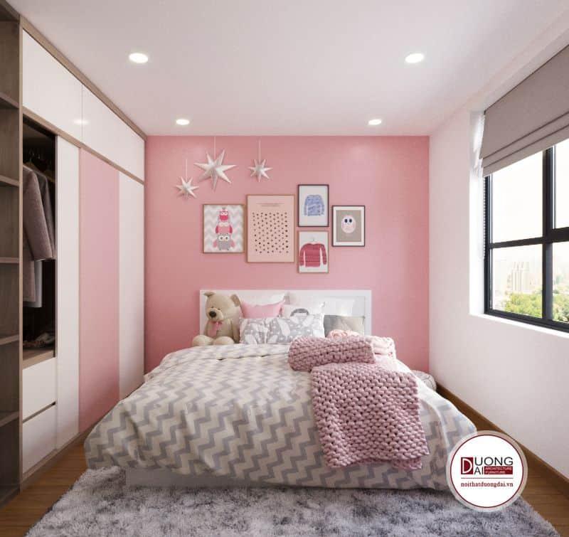Phòng ngủ của bé gái sử dụng màu hồng nhạt nữ tính