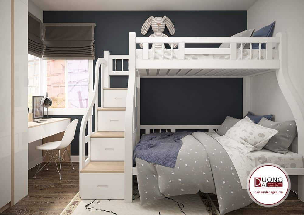 Phòng ngủ nhỏ có thể dùng giường tầng để tiết kiệm diện tích