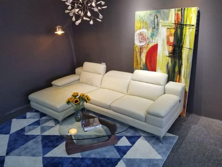 Sofa da màu trắng hiện đại và nhỏ gọn
