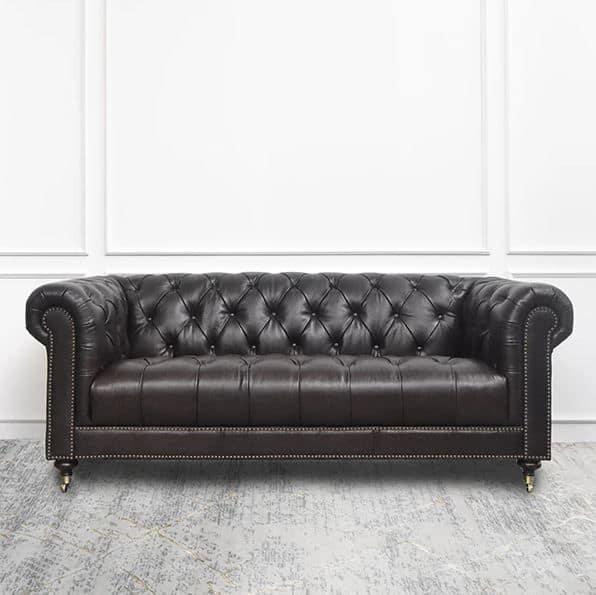 Sofa Da Tân Cổ Điển Phòng Khách, Có Thể Tùy Chọn Màu Sắc