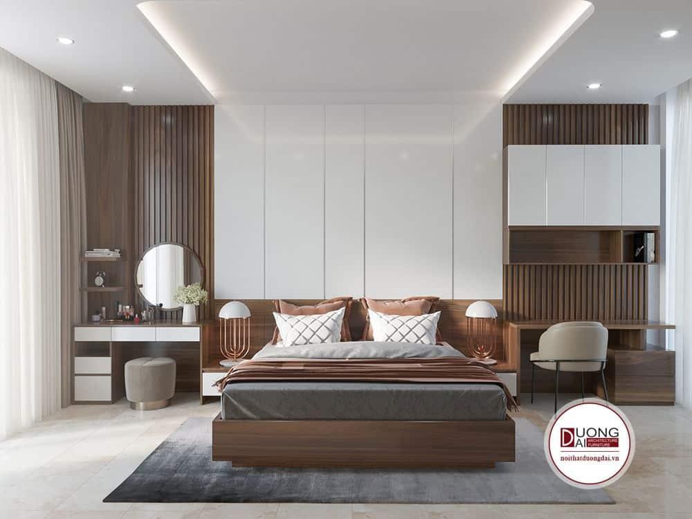Phòng ngủ Master siêu ấn tượng với gam màu trung tính