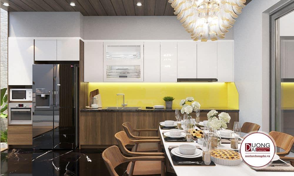 Thiết kế tủ bếp gỗ MDF cánh Acrylic bóng sáng và bàn ăn gỗ óc chó