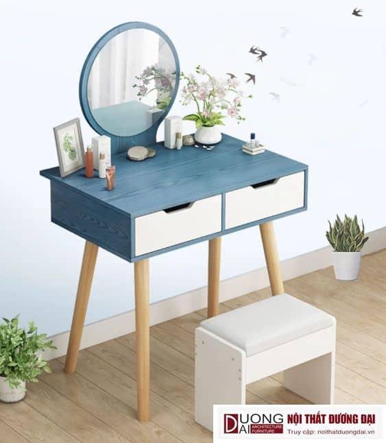 Mẫu thiết kế bàn trang điểm màu xanh cá tính và trẻ trung