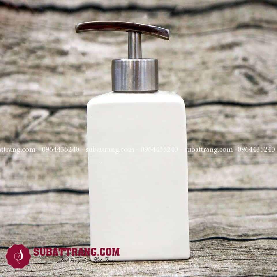 Bình Đựng Xà Phòng Nhà Tắm Bát Tràng Dáng Chữ Nhật Vòi Inox 304 – SBT110045