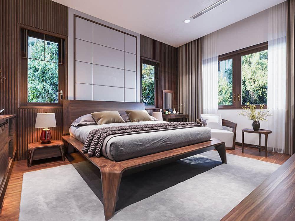 Mẫu giường ngủ thượng lưu từ chất liệu gỗ óc chó cao cấp