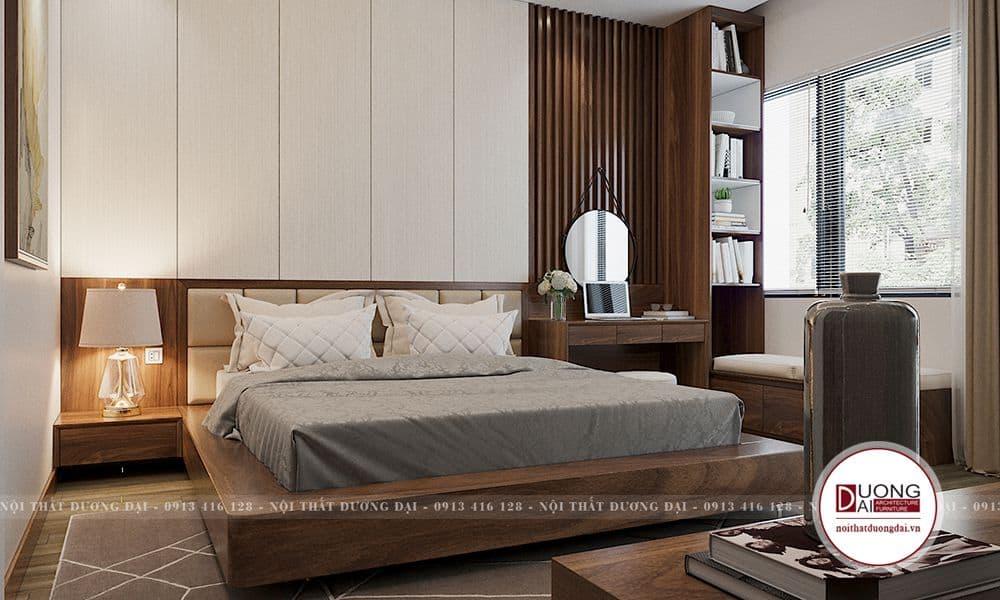 Giường ngủ nối liền với tab đầu giường phù hợp cho phòng ngủ nhỏ