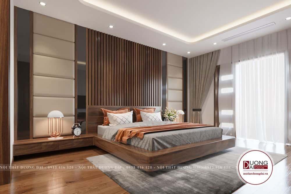 Vẻ đẹp của gỗ Walnut làm cho mẫu phòng ngủ càng thêm ấn tượng