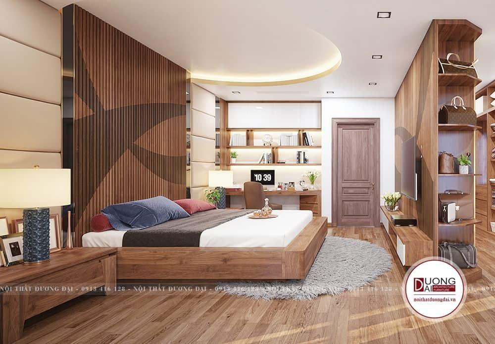 Đường vân gỗ và thớ gỗ dày tại nên mẫu giường vững chãi với tính thẩm mỹ cao