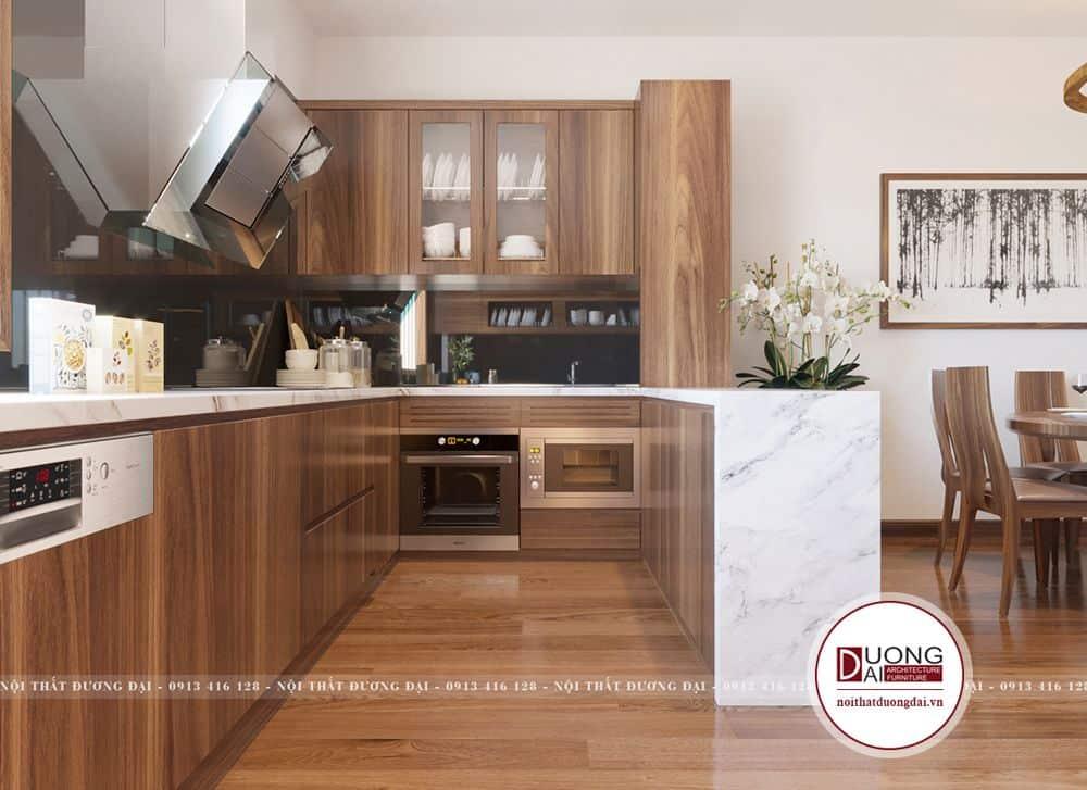 Mẫu tủ liền đảo bếp siêu ấn tượng với thiết kế thông minh