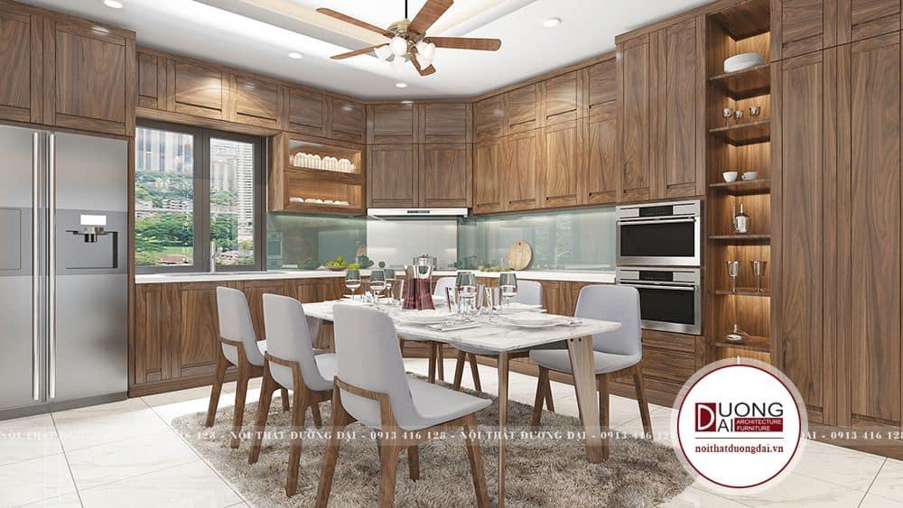 Mẫu tủ bếp siêu đẹp làm từ gỗ óc chó đầy thượng lưu