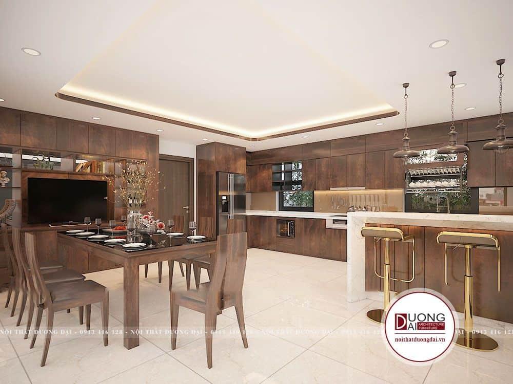 Không gian phòng bếp làm từ gỗ tự nhiên siêu đẳng cấp