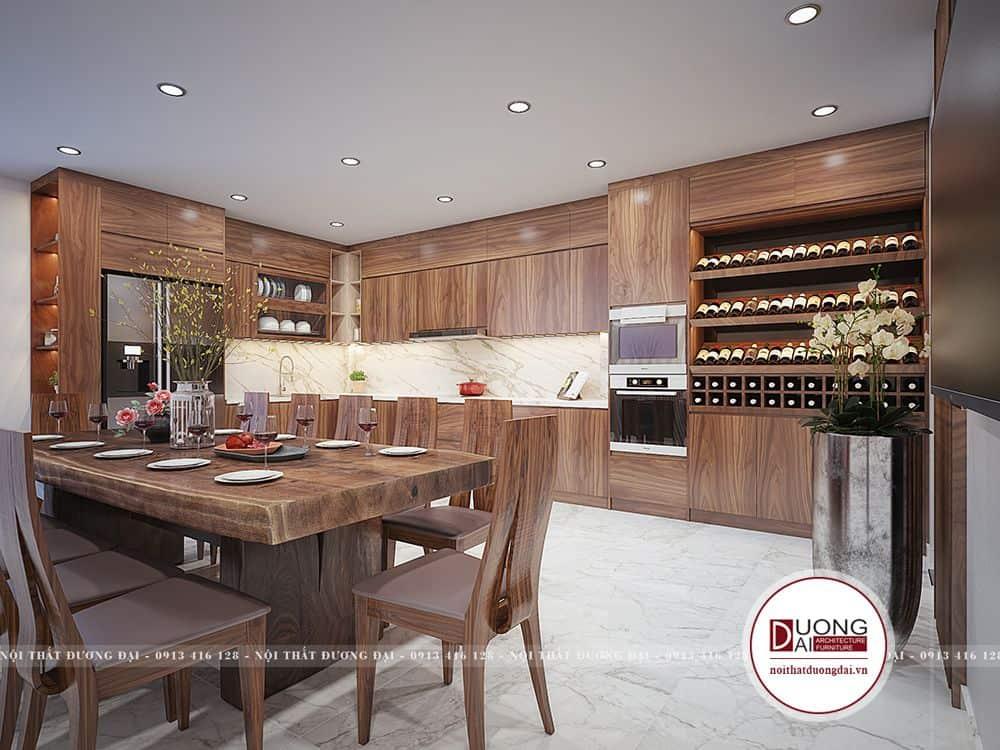 Thiết kế phòng bếp có tủ rượu lớn siêu sang trọng cho nhà phố