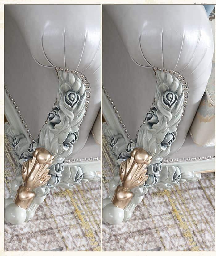 Họa tiết hoa hồng trải dài từ chân đến lưng ghế.