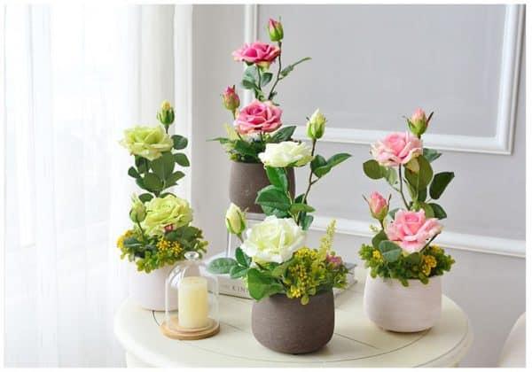 Hoa Lụa Đẹp Giá Rẻ Mini, Bình Hoa Trang Trí Cho Phòng Khách |Nội Thất Đương Đại