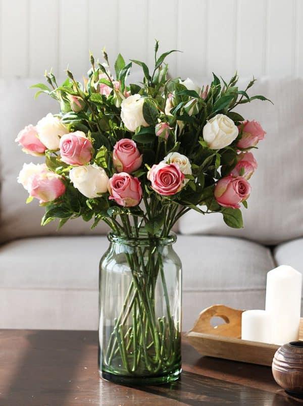 Hoa Lụa Trang Trí Đẹp, Hoa Hồng Lụa Cho Phòng Khách Hấp Dẫn |Nội Thất Đương Đại