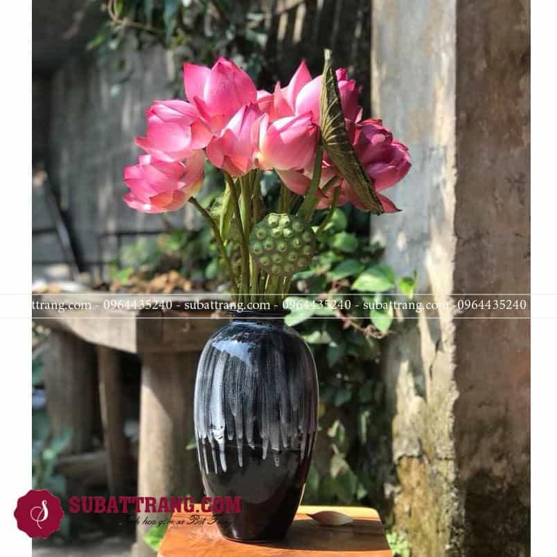 Lọ hoa gốm sứ Bát Tràng men hỏa biến độc đáo, sang trọng