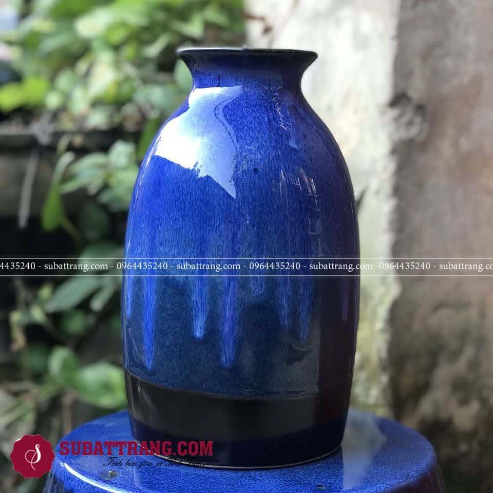 Lọ hoa gốm Bát Tràng men hỏa biến dáng chai thủ công, đẹp và độc đáo