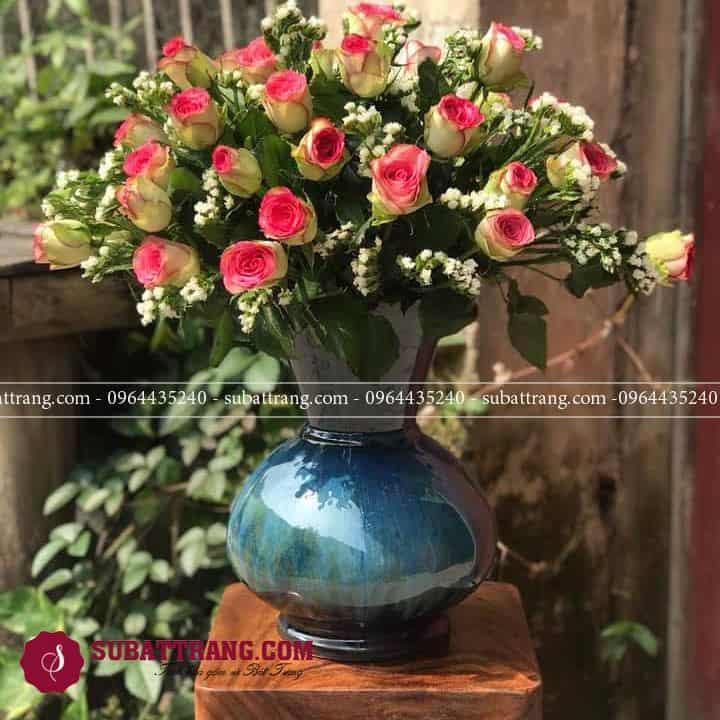 Bình hoa hồng men hỏa biến dáng giỏ của vuốt tay của nghệ nhân