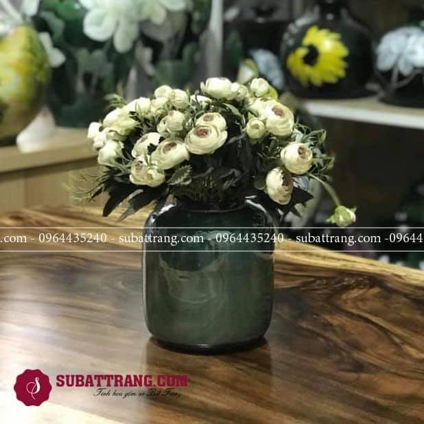Lọ hoa gốm sứ Bát Tràng men hỏa biến dáng trụ thấp đẹp
