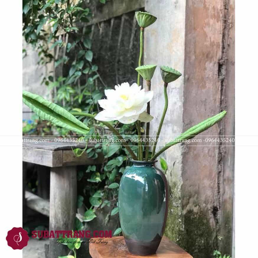 Lọ hoa bát tràng đẹp, men hỏa biến độc đáo, dáng vai tròn sang trọng