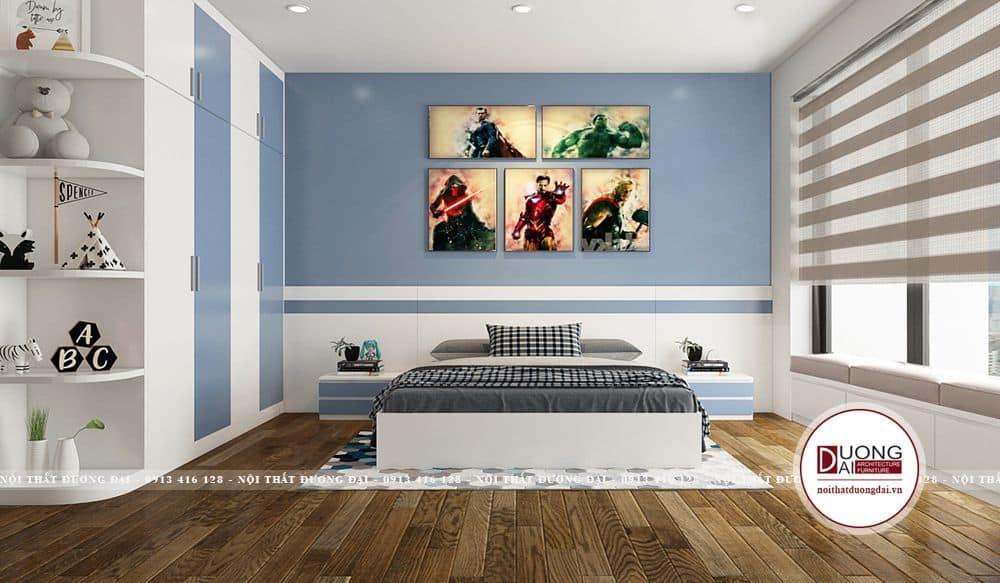 Phòng ngủ cho bé trai thiết kế gam màu xanh dương tinh nghịch