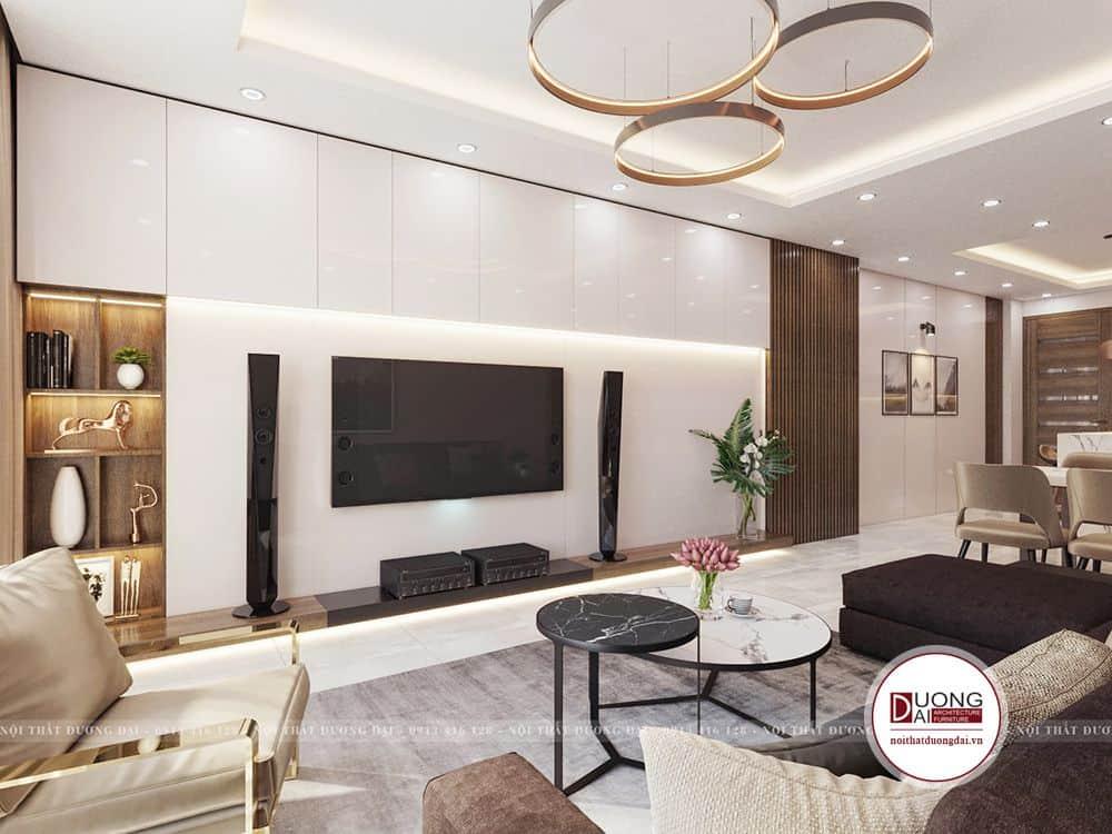 Phòng khách với diện tích rộng rãi, sử dụng nội thất cao cấp