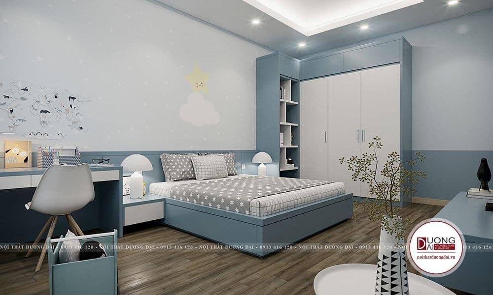 Nội thất căn phòng thiết kế chủ yếu mang tông màu xanh dương.
