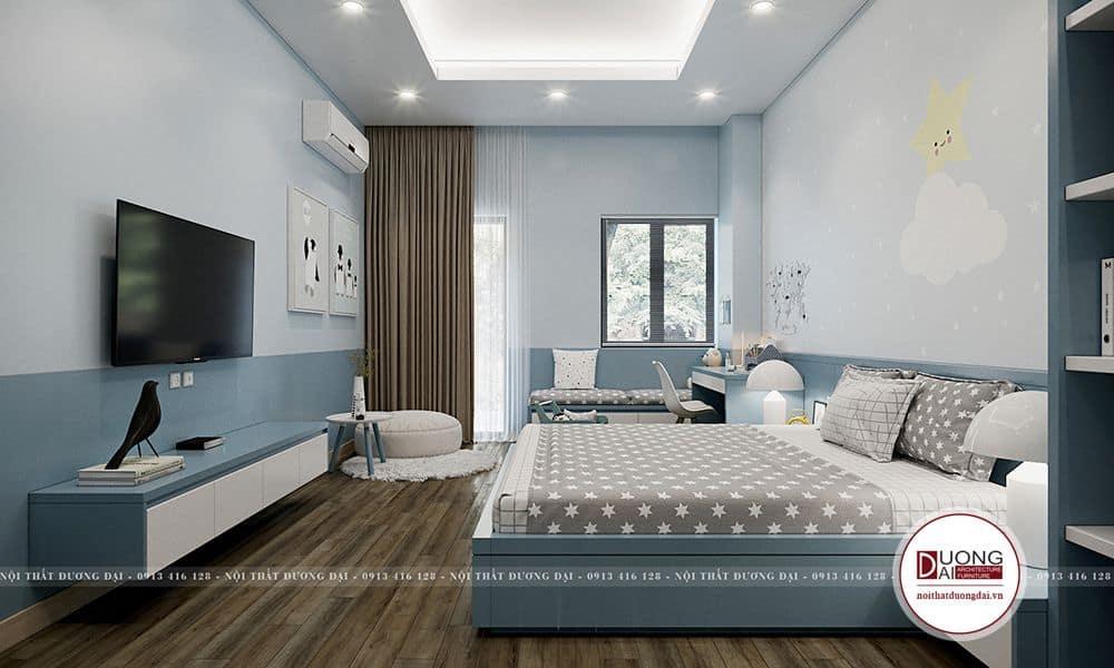 Chất liệu thi công nội thất chủ yếu của phòng này là MDF chống ẩm và sơn.