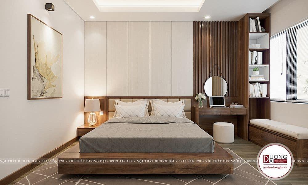 Phòng ngủ Master đẹp với bàn làm việc và giá sách gỗ tinh tế